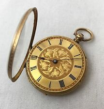 18k Gold Half Hunter Engraved Case pocket watch by (Locle?) Swiss