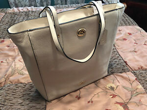 """COACH - PEBBLE LEATHER TOWN TOTE """"CHALK/IMITATION GOLD"""" F12184 NEW W/TAGS"""