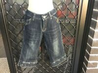 ANER Women's Jean Shorts - Black Denim, Deco Buttons, Front Zip - Size 10 (28)