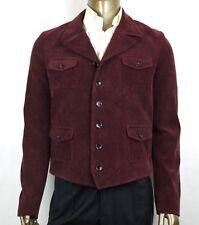 $1950 Gucci Men's Dark Purple Crinkle Corduroy Jacket 6 Buttons 50R 405272 5174
