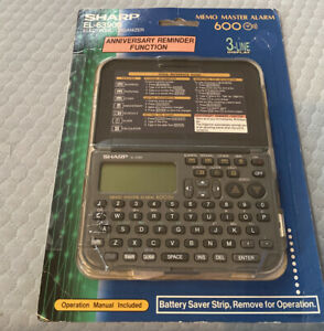 Vintage Sharp EL-6390B 1MB Memo Master Alarm 600 3-Line PDA Electronic Organizer