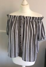 BLACK AND WHITE PATTERN STRIPED OFF THE SHOULDER STYLE TOP CAMEO ROSE UK 10