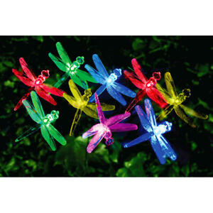 Solar Powered 24 LED Insect Dragonfly String Lights Garden Bush Decoration