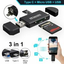 3 in 1 Type C Micro USB & USB 2.0 OTG Adapter SD TF Card Reader For Cell Phone