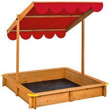 Sandkasten mit verstellbaren Dach Sandkiste Spielhaus Sitzbänke Holz Plane rot