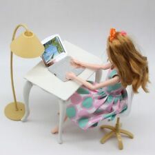Free Shipping,Doll Play House Doll Furniture Desk+Lamp+Laptop+Chair Accessories