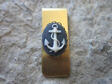 ANCHOR CAMEO GOLD PLATED BRASS MONEY CLIP - FATHER'S DAY - NAUTICAL - NAVAL - BL