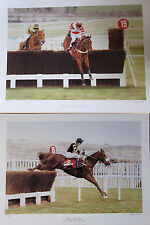 "2x Stephen Smith 22""x16"" Signée édition limitée Horse Racing Jump photos"