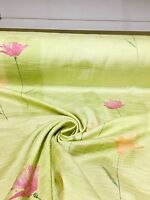 BEAUTIFUL APPLE GREEN FLORAL SUMMER PRINT CURTAIN FABRIC 6 METRES