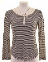 ARMANI JEANS Womens Top Long Sleeve EU 42 Large Black Striped Viscose  MW03