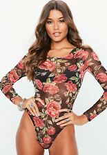BNWT Missguided Mesh Body Suit Size 6 Floral Rose Festival Summer Black Red New