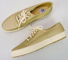 Nos Vintage Keds Gold Shimmer Metallic Canvas Sneakers Lace-Up Shoes Womens 9