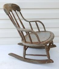 Antique Victorian Wooden Child's Rocking Chair Rocker Primitive Vermont Estate