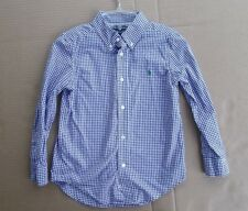 Youth Boys RALPH LAUREN POLO dress check shirt size 5 blue Easter top FREESHIPP