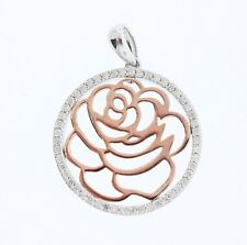 NEW Enchanted by Disney Sterling Silver .20ct Diamond Belle Rose Disc Pendant