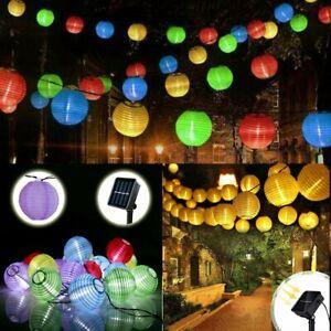 Solar 20-60 LED String Fairy Lights Chinese Lantern Outdoor Garden Party Decor