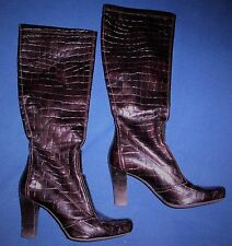 Women's Franco Sarto Brown Faux Snakeskin Leather Knee High Heeled Boots Size 7
