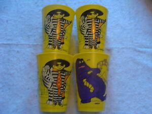 4 vintage plastic McDonald Cups ---1978------3 Hamburglar & one Grimace