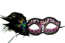 Purple Swirls Peacock Masquerade Mask - Peacock Feather Mask Venetian Details