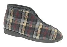 MENS SIZE 6 7 8 9 10 11 12 GREY ZIP FRONT FULL THERMAL WARM WINTER SLIPPERS