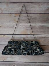 Vintage Beaded Evening Purse Made in India Black Velvet with Blue + Silver Beads