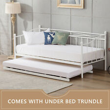 Modern 2ft6 Small Single Day Bed Frame With Trundle Living Room Daybed White