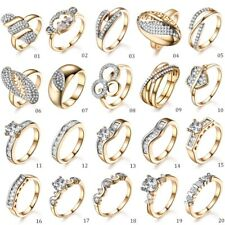 Wholesale Women Swarovski Crystal Eternity Wedding Gold Platinum Rings Lots M-R