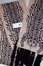 New with Tags H&M Studio Scarf Long 100% Viscose Print Tassels Tiger Nude Black