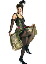Saloon Girl Olive Green Super Deluxe Adult Costume Large 14-16