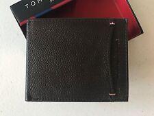 NIB Tommy Hilfiger Genuine Leather Mens Wallets Credit Card Wallet Dark Brown