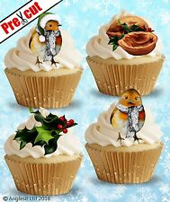 PRE-CUT WINTER ROBIN BIRD EDIBLE WAFER PAPER CUP CAKE TOPPER DECORATIONS