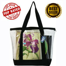 Large Clear Tote Bag with Zipper Closure Black Zippered Grocery Plastic Hand NEW