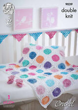 King Cole Double Knit Crochet Pattern Blanket Baby Booties Granny Bunting 9039