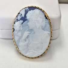 Signed NEW Italy750/18K Gold Blue Agate Cameo Lady W/Flowers Pendant Brooch Pin