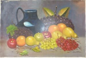 """Oil painting Still Life Flowers Fruit 24x36"""" signed Bautista Spain,Filipino Asia"""