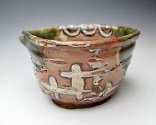 SPECTACULAR JAPANESE NARUMI ORIBE BOWL Edo Tea Ceremony Pottery RARE KASHIBACHI