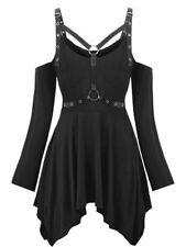 Gothic Kleid Schnürungen Lederbänder Gr 36 S  neu Mittelalter Langarm Schnallen