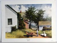 "1986 Vintage 16"" Print Burton Dye Boy with Cart Want a Ride? Country Landscape"
