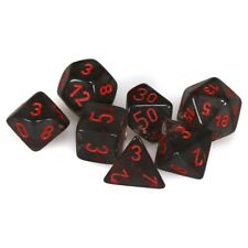 Chessex: Translucent Polyhedral Dice Set - Smoke/Red Role Playing Game