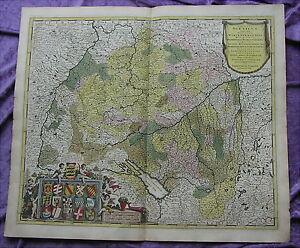 Rare original antike Landkarte Württemberg von 1689 Frederick de Wit