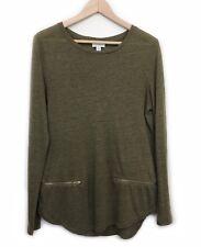 Witchery Zip Trim Linen Top Size M Khaki Olive Green Long Sleeve T-Shirt Tee