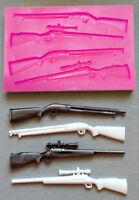 3D Silicone Rifle Shotgun Hunting Chocolate Sugarcraft Mould Cake Decor UK