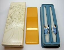 """Avon Heavenly Angels Ceramic Huggers & 10"""" Fragranced Tapered Candles New 1983"""