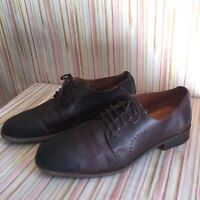 ROBERT WAYNE UTAH MENS BROWN LEATHER OXFORD CASUAL LACE UP DRESS SHOES SIZE 8.5D
