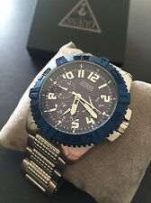 GUESS Men's Silver Tone Bracelet Dark Blue Dial Chronograph Watch U0800G1 NWT