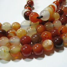 """Carnelian Agate 12mm Round Large 4mm Hole Beads 8"""" Leather Chain Wrap Jewelry"""