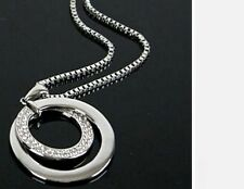 Women's Silver Plated Crystal Rhinestone Oval Pendant Long Necklace Gift UK