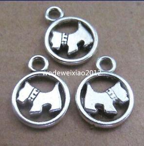 10pc Tibetan Silver Charms 2-Sided Dog Animal Pendant Jewellery Making PL252