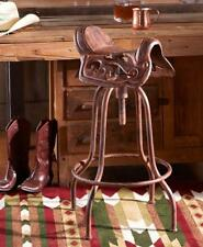 Rustic Western Cowboy Horse Saddle Adjustable Cast Iron Bar Stool