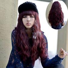 Damen Neu Cool Weinrot Langhaar Perücke Gelockt Gewellt Volle Wig Cosplay Kostüm